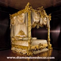 """""""Nightingale"""" Glamorous Baroque Luxury Gold Leaf French Reproduction Style Hand-carved Mahogany King Size Canopy Bed. Each item is custom made AT THE TIME OF THE ORDER Please allow approximately 14-18"""