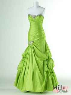 A-line strapless beadeing green prom dresses 2012 PDM4050