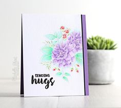 wplus9: Beautiful Bouquets, emboss, zig pens, ZIG CLEAN COLOR REAL BRUSH PENS - 081 Light Violet, 083 Lilac, 042 Turquoise Green, 045 Pale Green, 070 Orange, 025 Pink, 036 Light Blue, watercolor, VIDEO