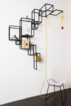 shelving in lacquered steel van Design studio Filip Janssen