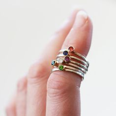 Your Choice Gemstone Stacking Ring, Gemstone Solitaire Ring, Sterling Silver Ring, 14k Gold Accent, Customized Ring, Personalized Ring
