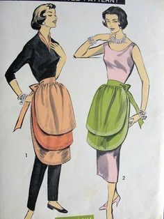 1950s UNIQUE TRIPLE TIERED APRON PATTERN 3 LAYER STYLE PERFECT  HOSTESS HALF APRONS ADVANCE PATTERNS 8467