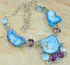 BLUE TOPAZ AGATE CRYSTAL PENDANT AMETHYST NECKLACE DRUZY STERLING SILVER PEARL
