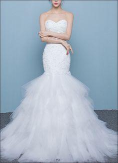 Extravagantes Meerjungfrauen Brautkleid mit Tüllrock