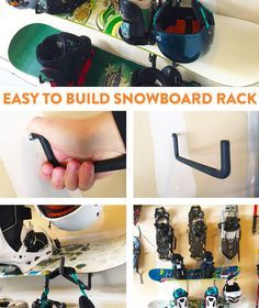 Make room for your snowboards in the garage or gear room -- it's quick and easy with this DIY tutorial || http://hub.sierratradingpost.com/snowboard-rack/ https://www.facebook.com/Snowboard-Equipment-174997816033563 #snowboardingtips