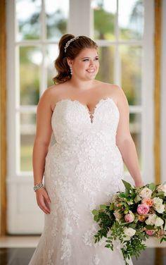 474655c9c2c 6814+ French Lace Plus-Size Wedding Dress with Scalloped Train by Stella  York Stella
