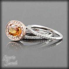 Oval Orange Sapphire Diamond Single Halo Wedding Set | LS1800