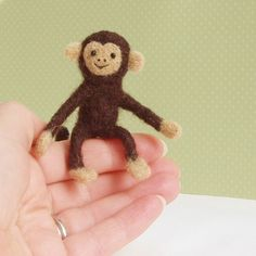 cheeky needle felt monkey