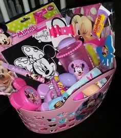 Disney Junior Easter Basket Ideas for Children, Kids, Toddlers, & Girls: Pre-Filled Disney Jr. Mickey Mouse Clubhouse Minnie Mouse & Friends Beach Bag by Bella Baskets 4U @ Etsy. Includes a bag, velvet coloring poster, beach ball, paddleball, 2 maracas, sipper cup, hair bow, mini flute, mini die cut note pad, mini spin top, bracelet, 2 eggs filled with rings, stickers, & candies.