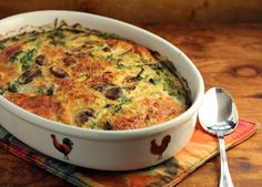 Spinach Casserole with Bacon and Mushrooms