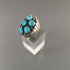 Men's big turquoise ring mens turquoise by AtticVintageJewelry
