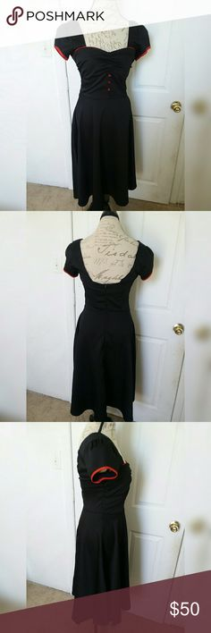 Grace Karin Dress 50's style Grace Karin Dress, beautiful condition no flaws, black full length  dress with red detail, zip up back, size small. Grace Karin Dresses