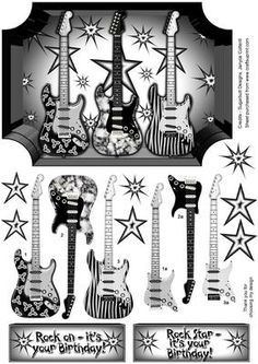 Rock Star on Craftsuprint designed by Janyce Cotterill - Great design for the teenager or any person who enjoys playing music, listening to music or strums his guitar or plays in a band!Easy layers to cut plus extra stars for embellishments purposes.The two greeting choices you have say, Rock on - it's your Birthday! Rock Star - it's your Birthday!There is a dedicated insert available to accompany this design. - Now available for download!