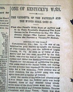 """Historic Newspaper with coverage of the Hatfield-McCoy feud: The World, January 1888 """"One of Kentucky's Wars - The Vendetta of the Hatfields and the M'Coys Still Goes On"""" Family Feud, Family History, Hatfield And Mccoy Feud, Hatfields And Mccoys, Adventure Resort, The Mccoys, West Virginia History, Newspaper Front Pages, Newspaper Headlines"""