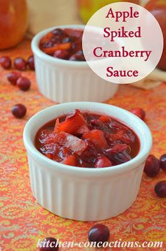 Apple Spiked Cranberry Sauce #recipe #Thanksgiving