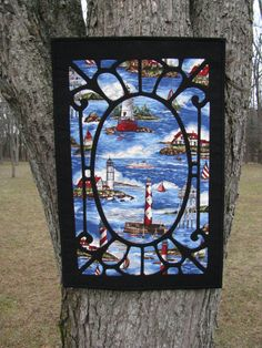 Lighthouse Quilted Stained Glass Wall Hanging by Flyingthreads, $60.00