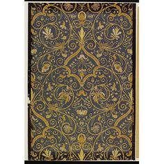 Specimen of wallpaper with a design taken from an embroidery of the period of Henri II; Design based on an embroidery of the period of Henri II; Designed by Paul Balin; Embossed, coloured and gilt; Exhibited at the Vienna Exhibition of 1873; Produced by Paul Balin, Paris; 1850-1873.