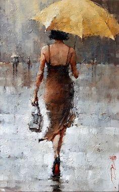 Le Parapluie Jaune, series : x – Andre Kohn Fine Art Gallery Umbrella Art, Yellow Umbrella, Art Abstrait, Figure Painting, Painting Art, Daisy Painting, Painting Classes, Painting People, Knife Painting