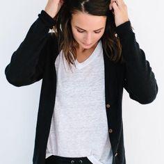 PRE-ORDER The Cotton Cardigan - Black – Slumlove Sweater Company
