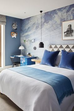 Blue bedroom - Kids Bedroom Ideas & Designs - HOUSE. in a Chelsea flat designed by Sophie Ashby who aimed to create a relaxed yet glamorous family space.