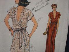1970s Deep V Neckline Wrap Dress Evening  Day Length by kinseysue