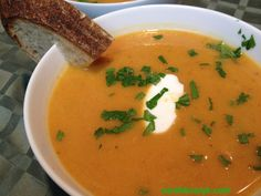 Roasted Butternut Squash & Ginger Soup. Recipe on the blog.