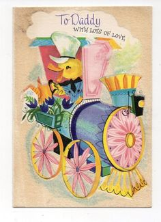 Vintage Gibson Easter Greeting Card Chick Driving Pastel Flower Train