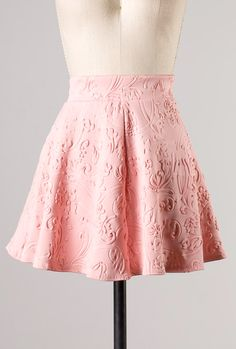 Object of Affection Swirl Embossed Mini Skater Skirt in Peachy Pink