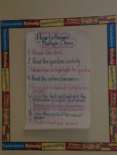 Grade 3 EQAO Co-created anchor chart for answering multiple choice.