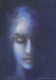 black as night art journal portrait by juna biagioni mixed media acrylic paint acryclic painting soft