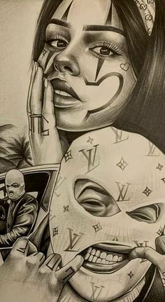 Gangster Drawings, Chicano Drawings, Gangster Tattoos, Chicano Tattoos Gangsters, Chicano Tattoos Sleeve, Chicano Style Tattoo, Tattoo Design Drawings, Art Drawings Sketches, Arte Lowrider