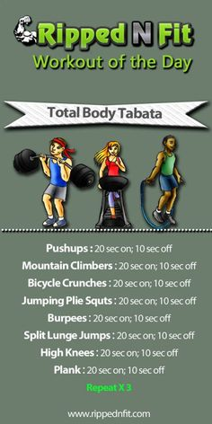 Workout of the Day: Total Body Tabata - RippedNFit | Motivation Education Inspiration: Health & Fitness for Everyone