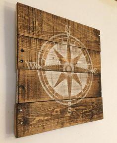 Nautical Compass Sign / Nautical Nursery/ by PalletsandPaint