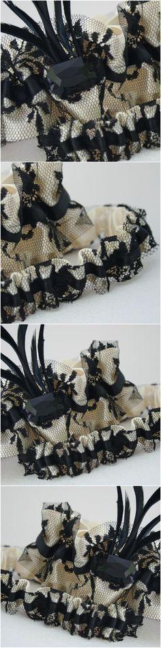 Wedding Garter Soft Ivory Ostrich Feathers Rhinestone Tulle