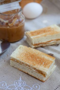 kaya (Malaysian for coconut egg jam)  toast  refer to link on how to make the jam ~ http://rasamalaysia.com/kaya-recipe-malaysian-coconut-egg-jam/2/