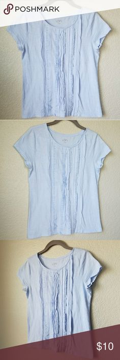 {Loft} light blue top Size Small Length - 22 inches Chest - 18 inches (measured flat)  Photos are the description of this item. Any flaws will be noted. Otherwise article is in excellent condition LOFT Tops Tees - Short Sleeve