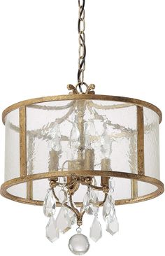 "0-027878>15""""w Blakely 4-Light Pendant Antique Gold"