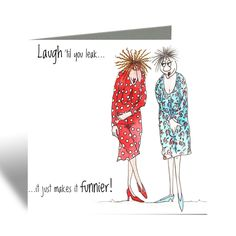 Laugh 'til you leak Card - Camilla & Rose Blank Greeting Card, Humorous Birthday Card, Cards For Friends, Best Friend Card by SarahBoddyUK on Etsy Two Best Friends, Friends Are Like, Funny Cards For Friends, Camilla Rose, Brown Envelopes, Funny Birthday Cards, Watercolor Cards, Some Fun, Your Cards