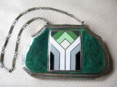Antique Art Nouveau Deco Green Faux Marble White Black Silver T Enamel Compact