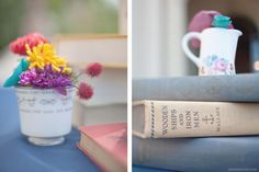 tea cup and book centerpieces
