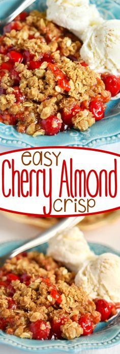 This Easy Cherry Almond Crisp will be the star of the show no matter when you make it! Serve with a scoop of vanilla ice cream for a dessert that will have friends and family moaning with delight! This easy dessert is sure to quickly become a new favorite!