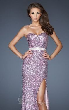 Sequined Slit Gown by La Femme 18850