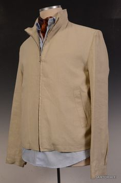 FLANELLA GRIGIA ROMA Tan Linen Jacket EU 48 NEW US 38