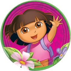 "Dora's Flower Adventure Dinner Plates Includes (8) themed 9"" paper dinner plates. This is an officially licensed Dora the Explorer product. Weight (lbs) 0.26 Length (inches) 9 Width (inches) 9 Height("