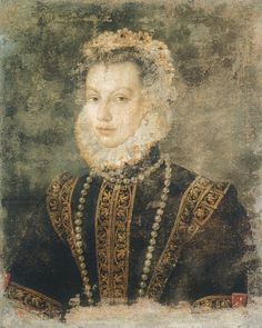 ISABEL ELISABETH DE VALOIS, portrait by Sofonisba Anguissola,  ca 1599, , better ? photo  of  the portrait from KHM Vienna.3rd wife of king Philip II of Spain