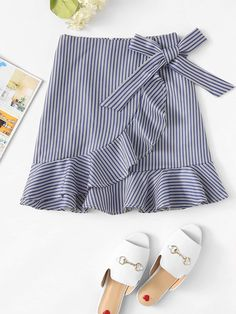 Young Casual A Line Striped Sheath Low Waist Blue Above Knee/Short Length Striped Ruffle Trim Overlap Skirt