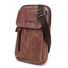 Men Genuine Leather Multifunction Crossbody Bag Belt Pouch with Shoulder Strap & Belt Loop