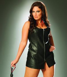Zip front leather mini dress. Leather back.
