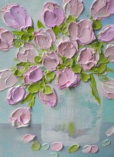 Impasto oil painting pink tulips!