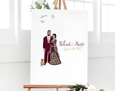 Indian Wedding Guest Book Alternative - Indian Wedding Portrait on Canvas - Guest Book for Large Wedding - Indian Wedding Guest Sign In Wedding Guest Book Alternatives, Wedding Portraits, Sign, Candles, Indian, Weddings, Handmade, Hand Made, Wedding